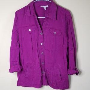 JM Collection tencelbutton fron shirt sz 12